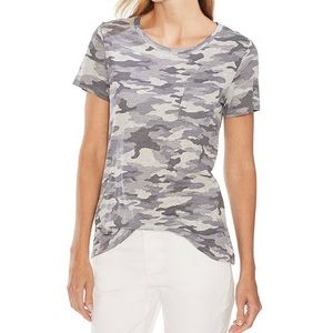 Vince Camuto Camo Scoop Neck Short Sleeve Top NWT